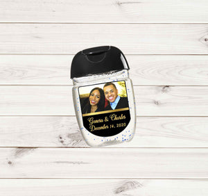 Wedding Photo Hand Sanitizers Labels with Names and Date for Pocketbac - Printed or File
