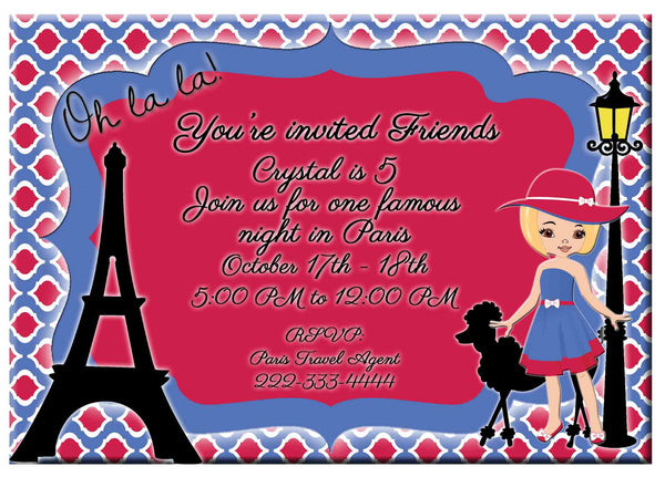 Paris Eiffel Tower Romantic Blonde Girl Birthday Party Invitation   - Custom Order - Invites and Delites