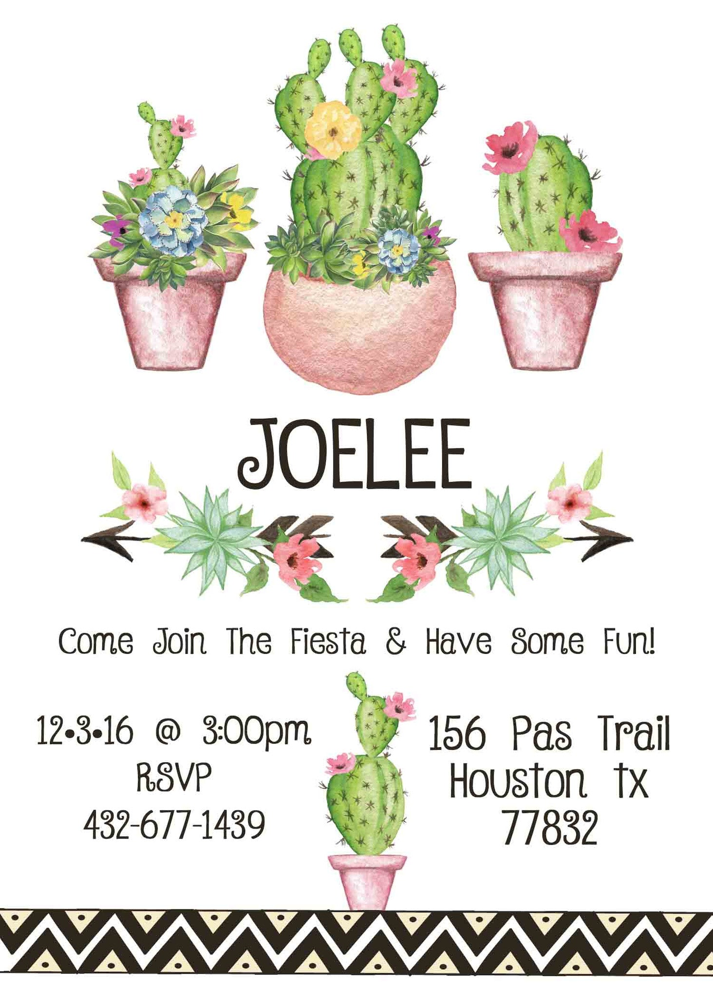 Rustic Southwestern Cactus Flowers Birthday Party Invitation - Custom Printable - Invites and Delites