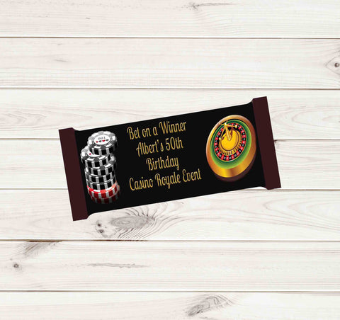 Casino Party Personalized Hershey Candy Bar 1.45oz 41g Label Wrappers - Printed