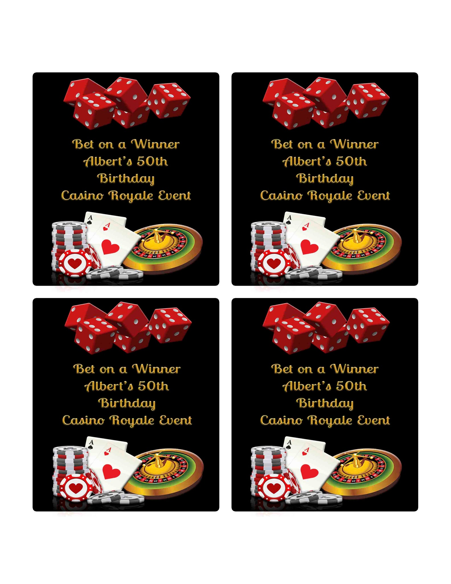 Casino Cards Roulette Dice Wine Bottle Label