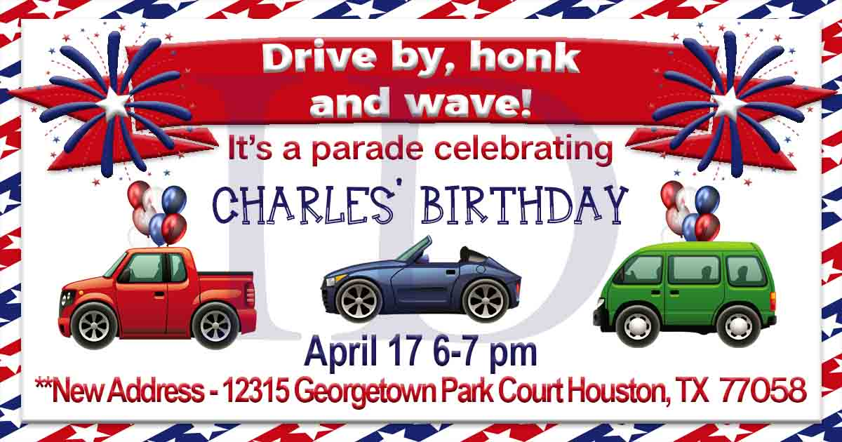 z Custom Order - Christi T - Car Parade Birthday Party Invite Announcement - Rush Order - 1 Jpeg file