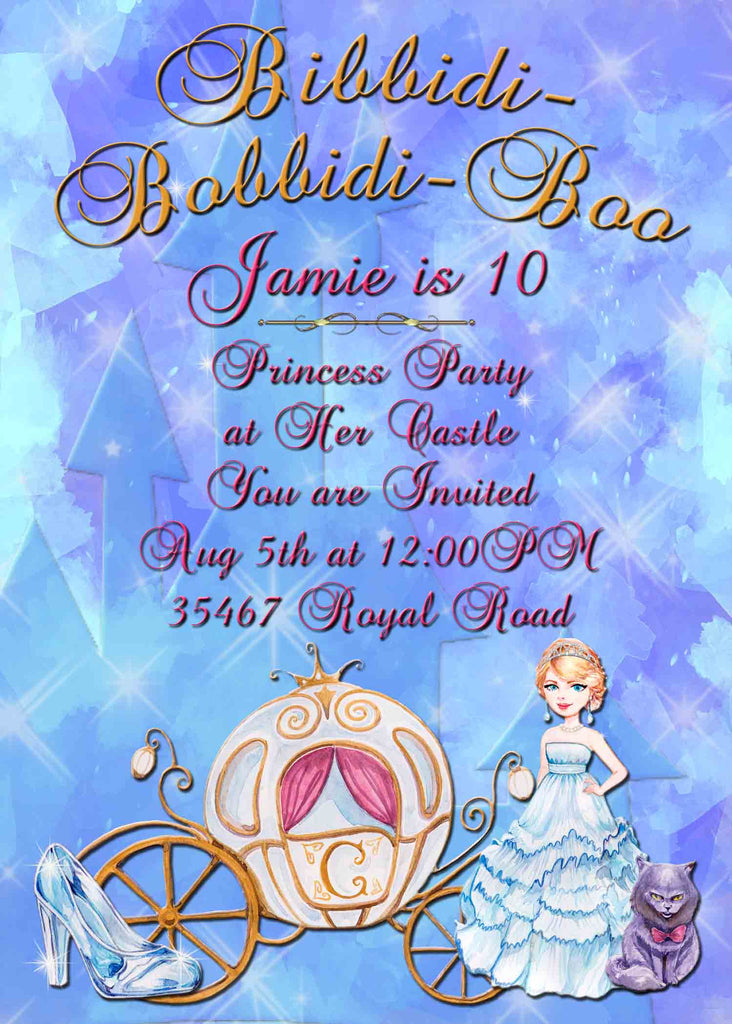 Princess Bibbidi Babbidi Boo Glass Slipper Birthday Invitation - Custom Printable - Invites and Delites