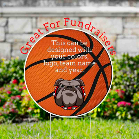 "Basketball or Any Sports Yard Signs Circle 23""  with Wire Stand - Free Shipping"