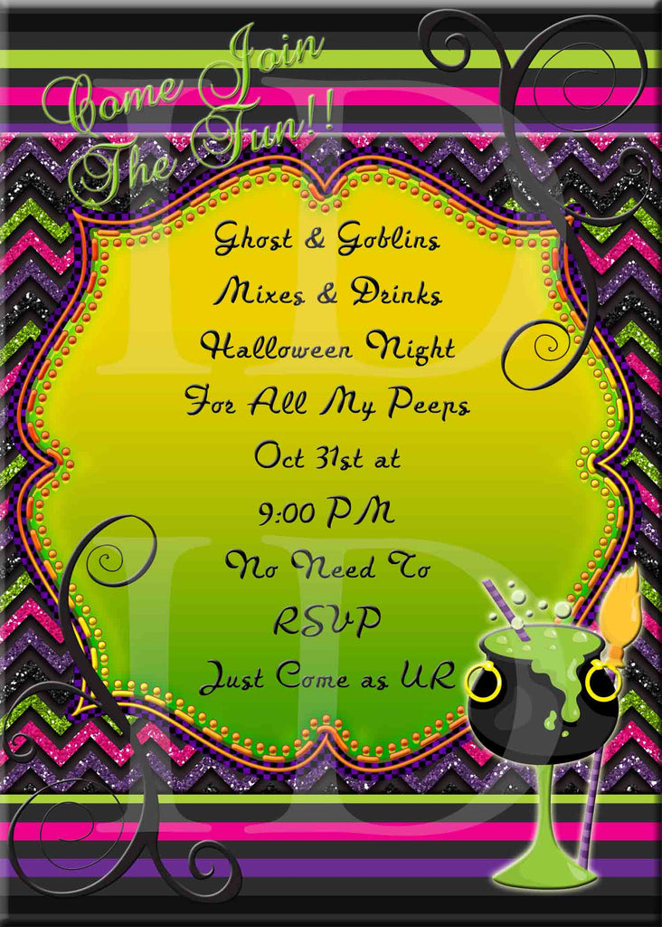 Halloween Party Glitter Colorful Drink Fancy Diva Halloween Invitation - Custom File