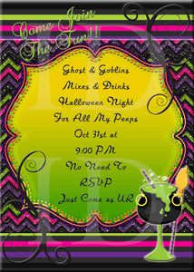 Halloween Party Glitter Colorful Drink Fancy Diva Halloween Invitation - Custom File - Invites and Delites