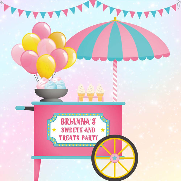 Cotton Candy Ice Cream Backdrop 10ft x 10ft File or Printed Banner - Free Shipping