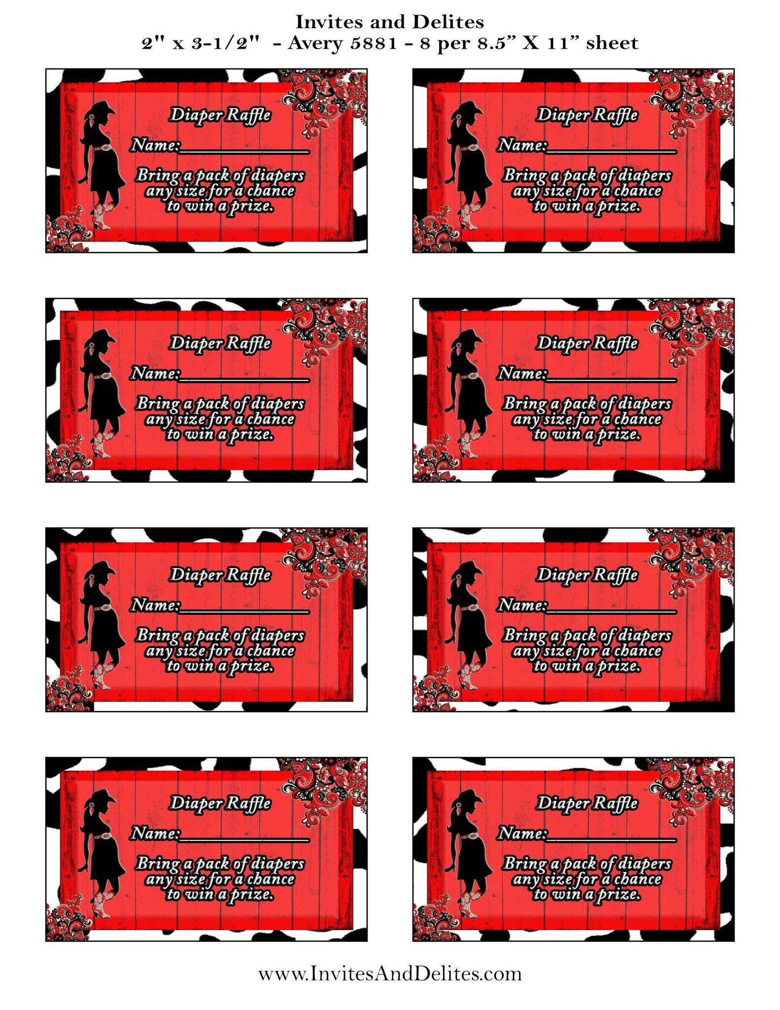 A Baby Shower Cowgirl Red Rustic Diaper Raffle Tickets - Instant Printable - Invites and Delites