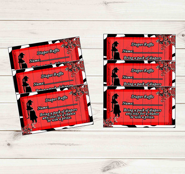 A Baby Shower Cowgirl Red Rustic Diaper Raffle Tickets - Instant Printable