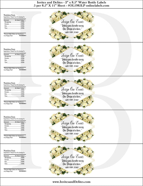 Custom Order - Ms. D - Custom Business Floral Rose Water Bottle Labels file - Custom Digital Files