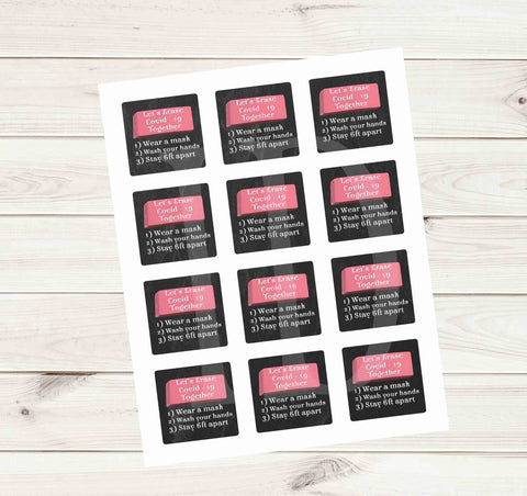 Let's Erase Covid 19 School Chalkboard Stickers - Printed or File