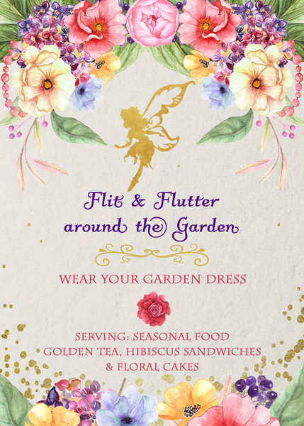 Golden Fairy Birthday Party Garden Flowers Invitation - Custom Printable - Invites and Delites