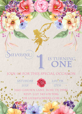 Golden Fairy Garden Party Birthday Floral Invitation - Custom Printable - Invites and Delites
