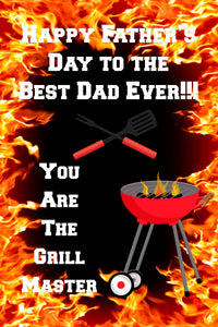 Happy Father's Day Grill Master Front Door Banner File or Printed Banner 2ft x 3ft - Free Shipping