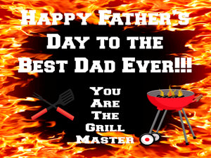"Happy Father's Day Grill Master Yard Signs 24"" x 18"" includes Wire Stand - Free Shipping"