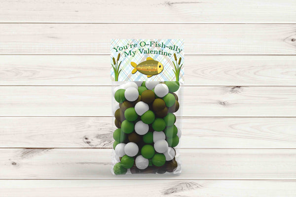 "O-Fish-ally Fish Boys Valentines Gift Bag Toppers 4"" x 2 "" - Instant Printable"