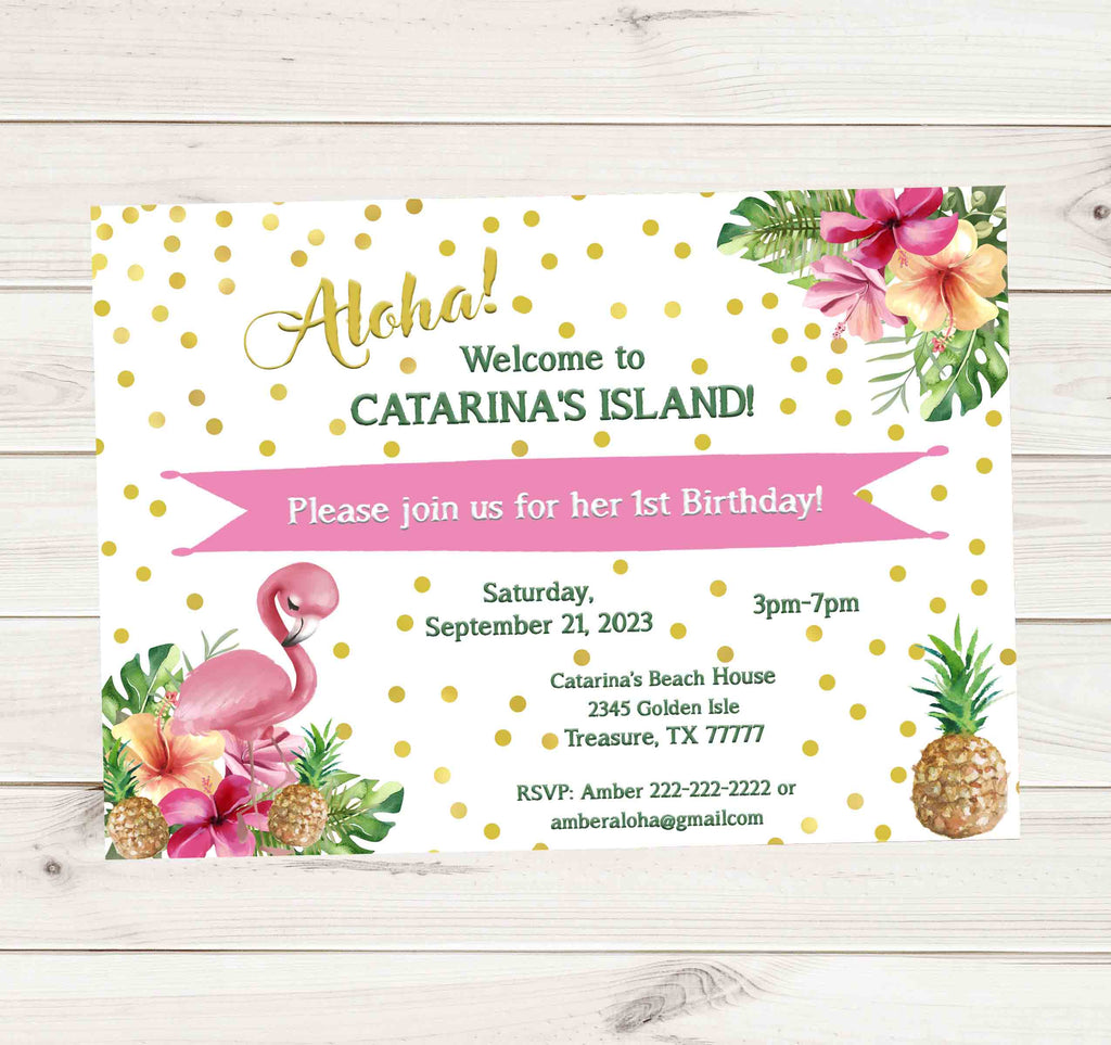 Tropical Flamingo Birthday Party Invitation 1 - Custom Order
