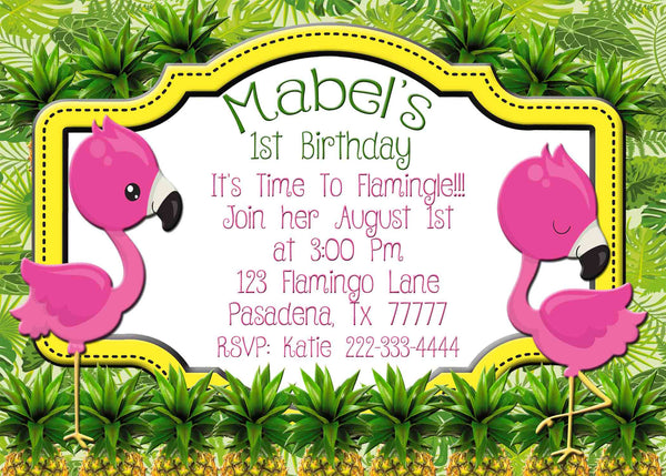 1st Birthday Invitation Flamingos Pineapples Tropical - Custom Printable - Invites and Delites