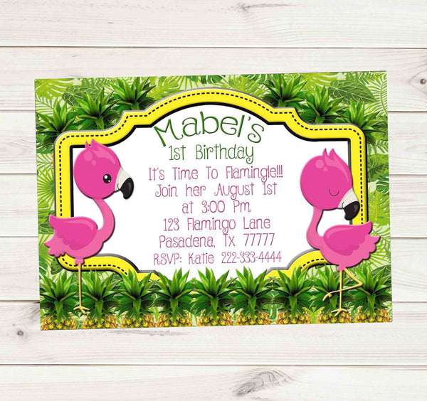 1st Birthday Invitation Flamingos Pineapples Tropical - Custom Printable