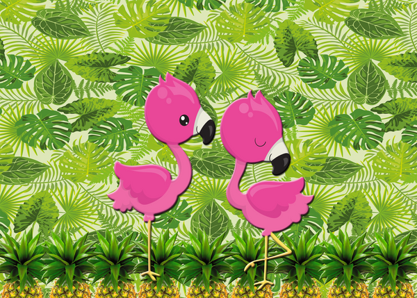 1st Birthday Invitation Flamingos Pineapples Tropical