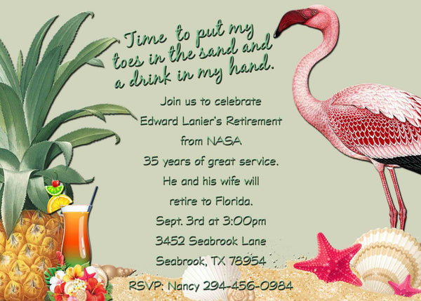 Beach Tropical Retirement Invitation with Flamingos and Drinks Green