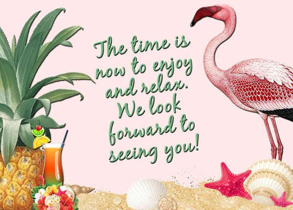 Beach Tropical Retirement Invitation with Flamingos and Drinks Pink