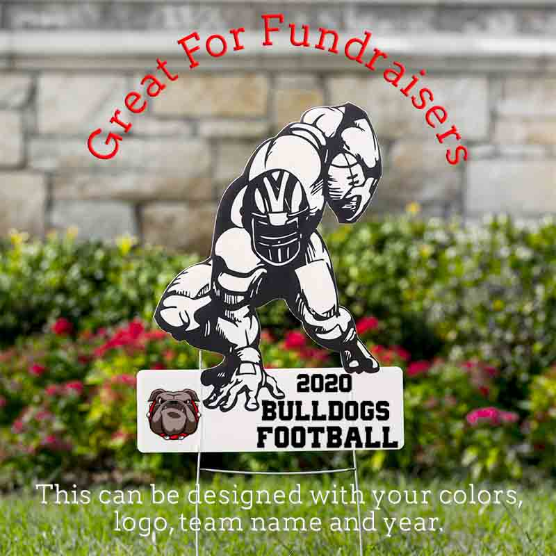 "Football Player Holding a Football Yard Signs 22"" x 17""  with Wire Stand - Free Shipping"