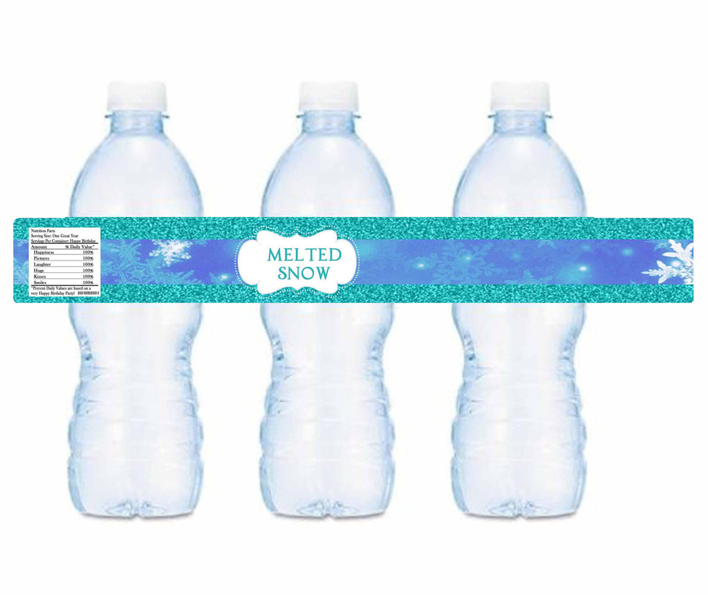 Frozen Melted Ice Water Bottle Labels Instant Printable Invites - Avery water bottle label template