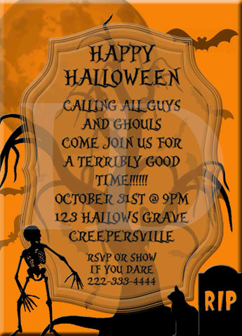 Halloween Scary Graveyard Skeleton Party Invitation - Custom File - Invites and Delites