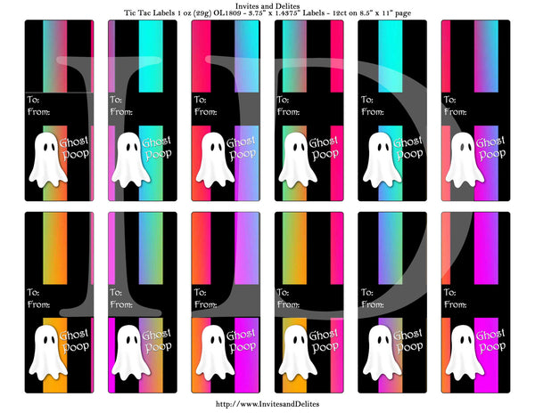 Halloween Ghost Orange Purple Ombre Stripe Tic Tac 1 oz - 29g Labels - Instant Printable