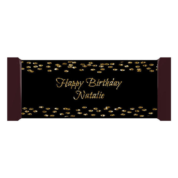 Golden Confetti Black Personalized Hershey Candy Bar 1.55oz 43g Label Wrappers - Custom Download