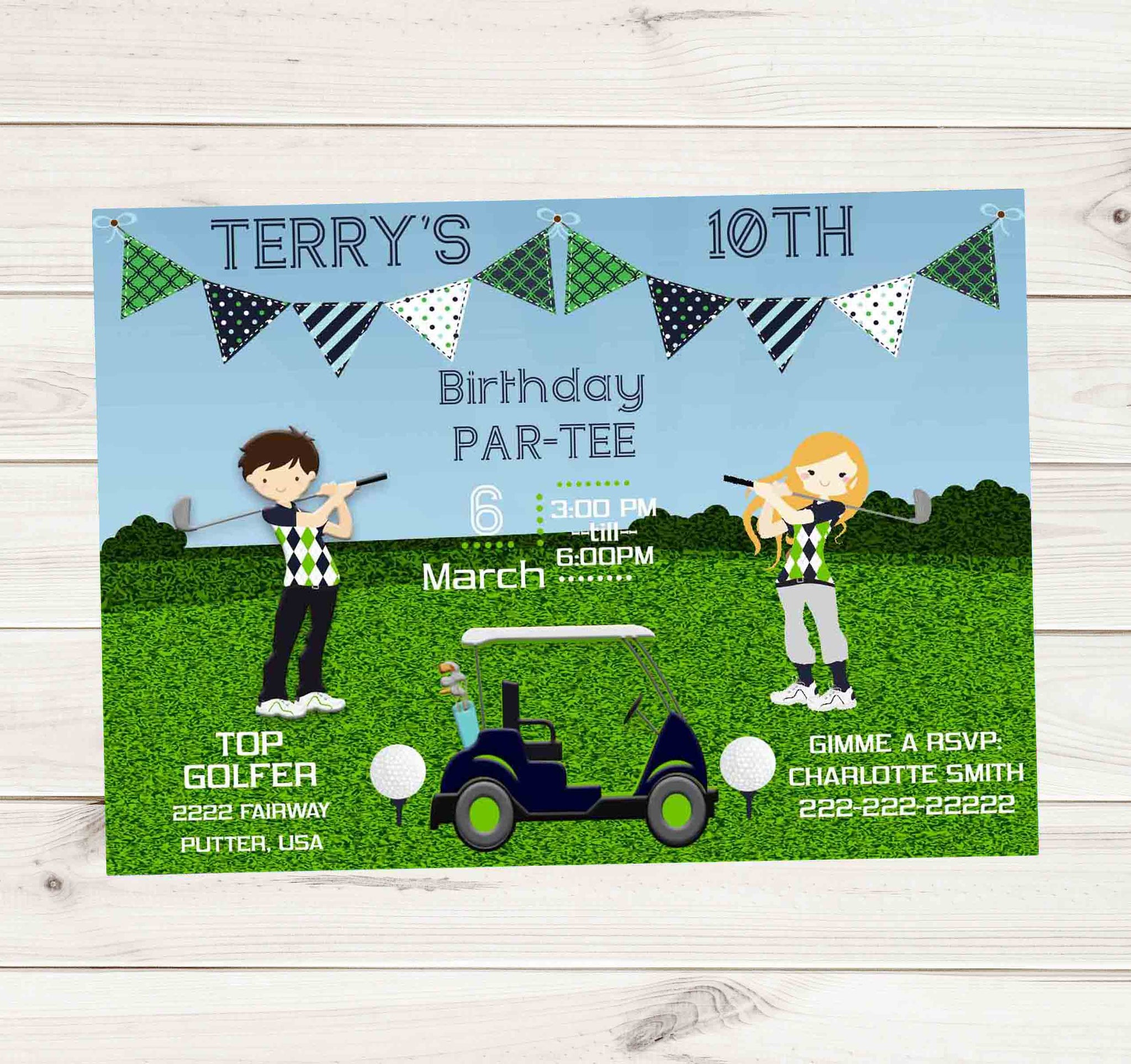 Golfing Birthday Party with Cart Golf Balls and Tees - Custom Printable - Invites and Delites