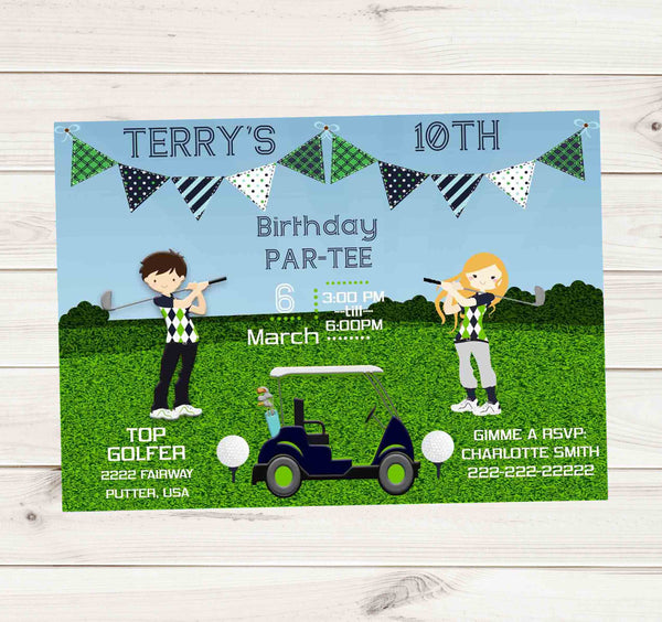 Golfing Birthday Party with Cart Golf Balls and Tees - Custom Printable