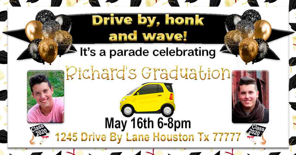 Senior Graduation with 2 Photos Gold Black Car Drive By Graduation Party Parade Facebook Invites
