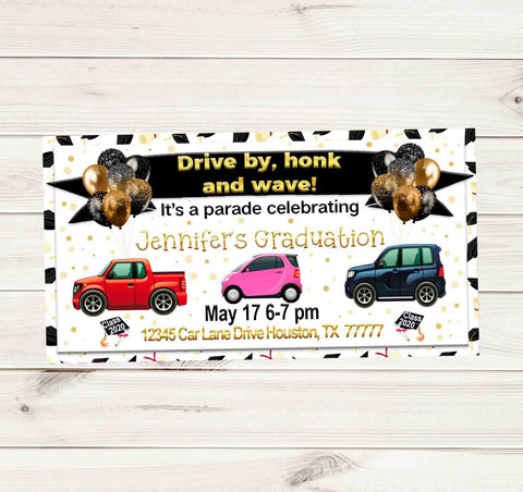 Senior Graduation Gold Black Dot Car Drive By Graduation Party Parade Facebook Invites