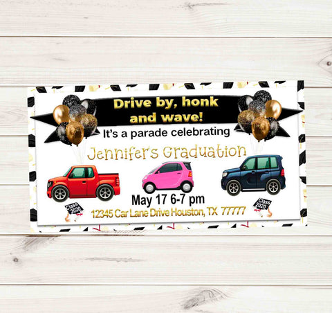 Senior Graduation Gold Black Car Drive By Graduation Party Parade Facebook Invites