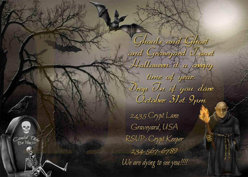 Halloween Graveyard Crypt Keeper Skeleton Creepy Invitation - Custom File - Invites and Delites
