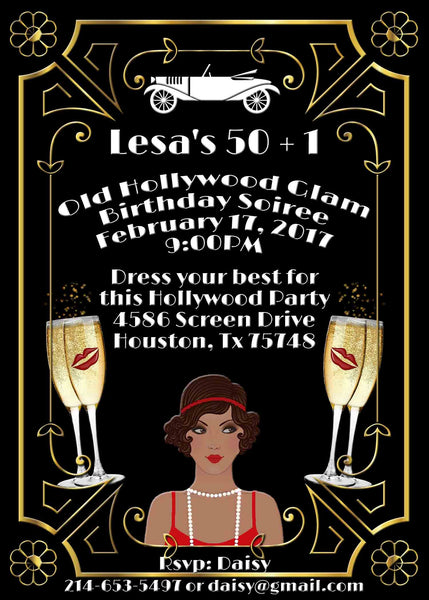 Hollywood Glam Gold White Great Gatsby African American Lady Birthday Invitation - Custom Printable - Invites and Delites
