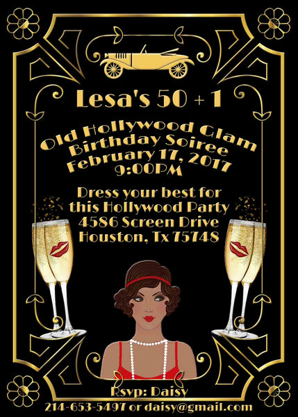 Hollywood Glam Gold Great Gatsby African American Lady Birthday Invitation - Custom Printable - Invites and Delites