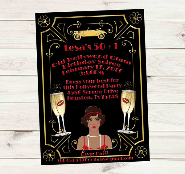 Hollywood Glam Red Gold Great Gatsby African American Lady Birthday Invitation - Custom Printable - Invites and Delites