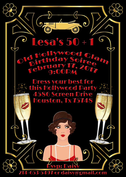 Hollywood Glam Red Gold Great Gatsby Lady Birthday Invitation - Custom Printable - Invites and Delites