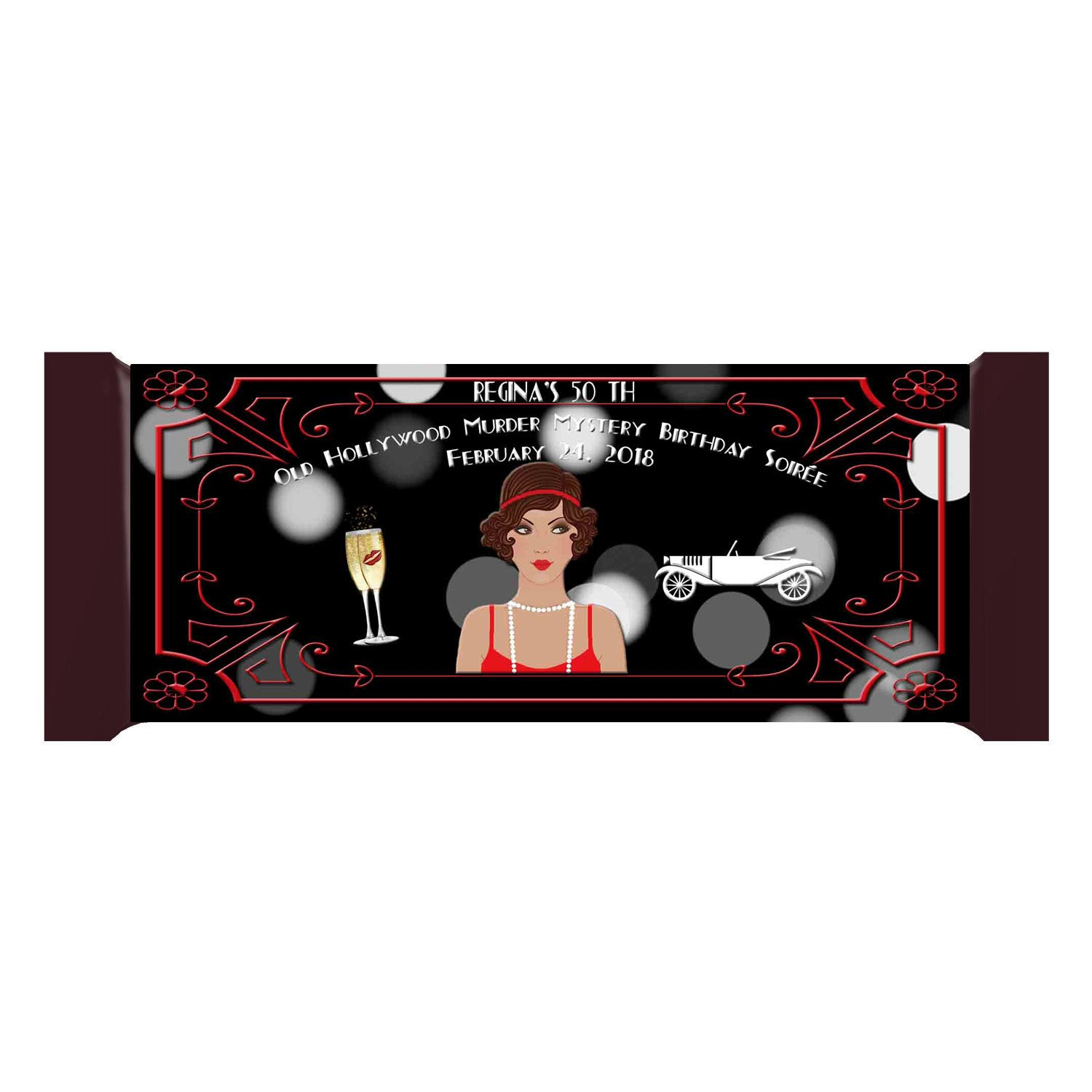 Great Gatsby Old Hollywood Glam Latino Lady Personalized Bar 1.55oz 43g Wrappers - Custom Printable - Invites and Delites