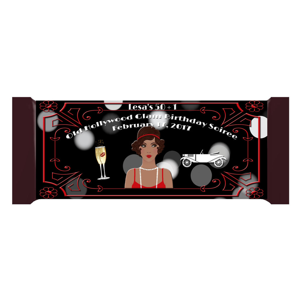 Great Gatsby Old Hollywood Glam Black Lady Personalized Bar 1.55oz 43g Wrappers - Custom Printable