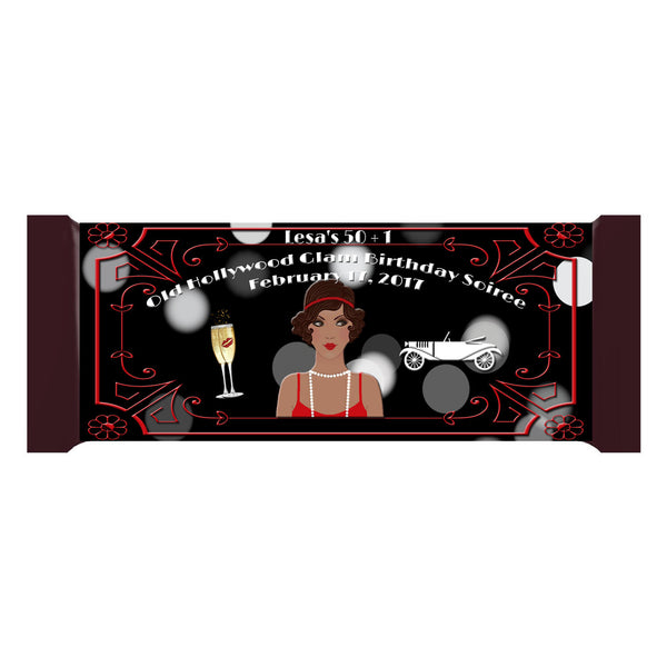 Great Gatsby Old Hollywood Glam Black Lady Personalized Bar 1.55oz 43g Wrappers - Custom Printable - Invites and Delites