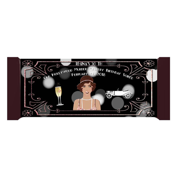 Great Gatsby Old Hollywood Glam Latino Lady Rose Gold Personalized Bar 1.55oz 43g Wrappers - Custom - Invites and Delites