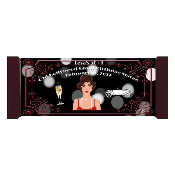 Great Gatsby Old Hollywood Glam Personalized Candy 1.55oz 43g Label Wrappers - Custom Printable