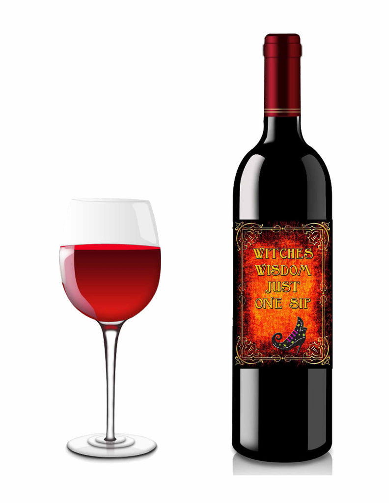 Halloween Burnt Flames Witches Wisdom Liquor or Wine Bottle Label #3 - Instant Download - Invites and Delites