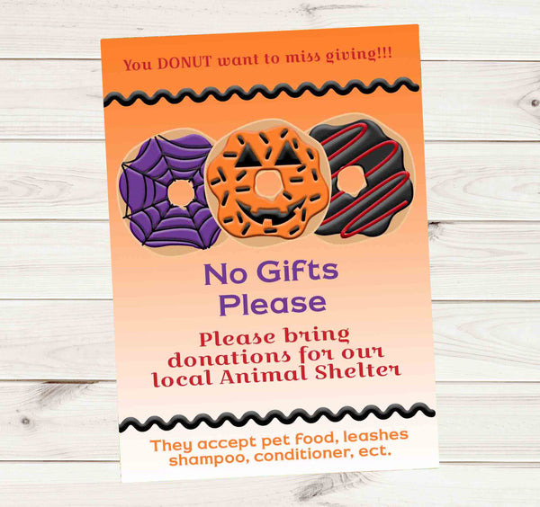 Halloween Donut Birthday Party Donation Invitation - Custom Printable