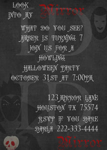 Halloween Party Maleficent Mirror Mirror Birthday Invitation - Custom File - Invites and Delites