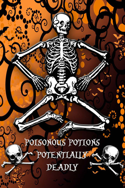 Halloween Skeleton Skulls Potential Poison Liquor or Wine Bottle Label - Instant Download - Invites and Delites